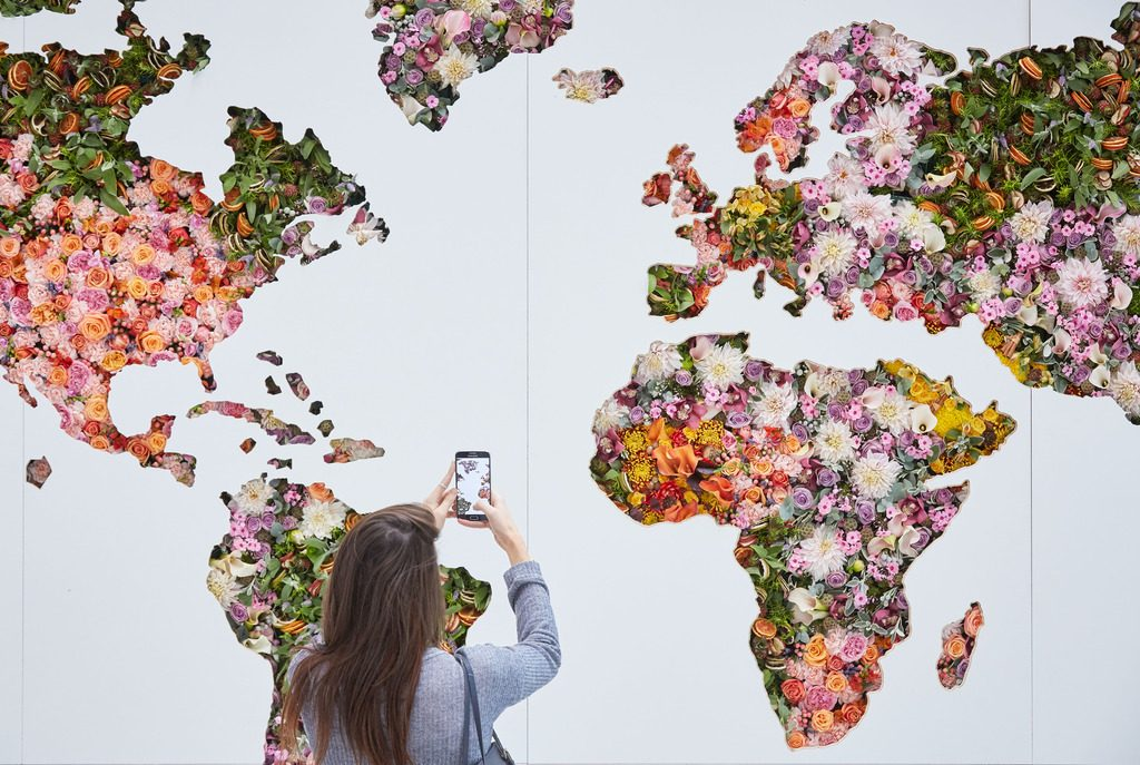A giant floral map of the world is unveiled at Heathrow to celebrate the airport's new global fragrance report. The map is 11 ft. by 18ft and uses around 2,000 fresh flower stems and showcases the most popular scents by country en vogue right now, as well as celebrating the new season fragrances.  BBZ/REX/SHUTTERSTOCK