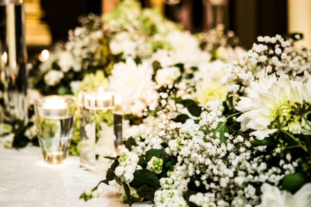Larry Walshe Wedding White Flowers Delphinium Dahlia Tree London