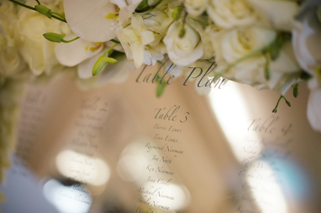 white wedding flower table plan roses orchids larry walshe london
