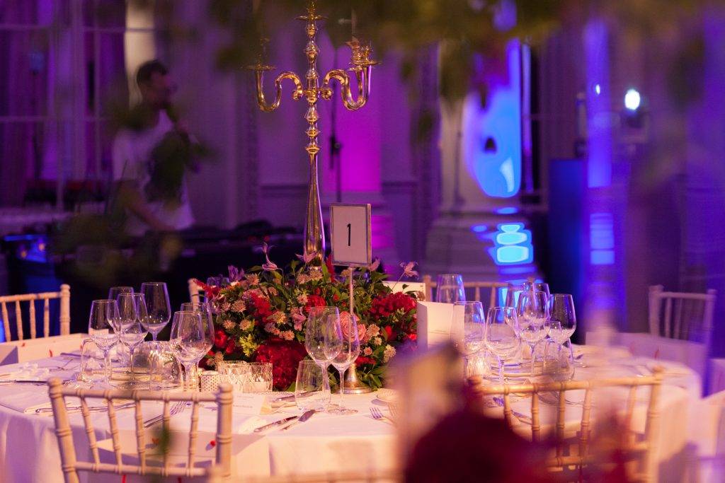 The Langham Hotel London Marylebone Anniversary Party Contempary Flowers Florist Larry Walshe Pink Purple Roses Hydrangeas Candelabra