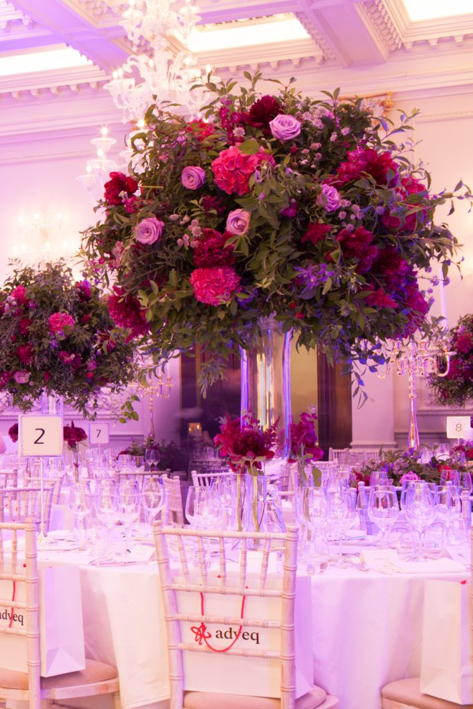 The Langham Hotel London Marylebone Anniversary Party Contempary Flowers Florist Larry Walshe Pink Purple Roses Hydrangeas Crystal