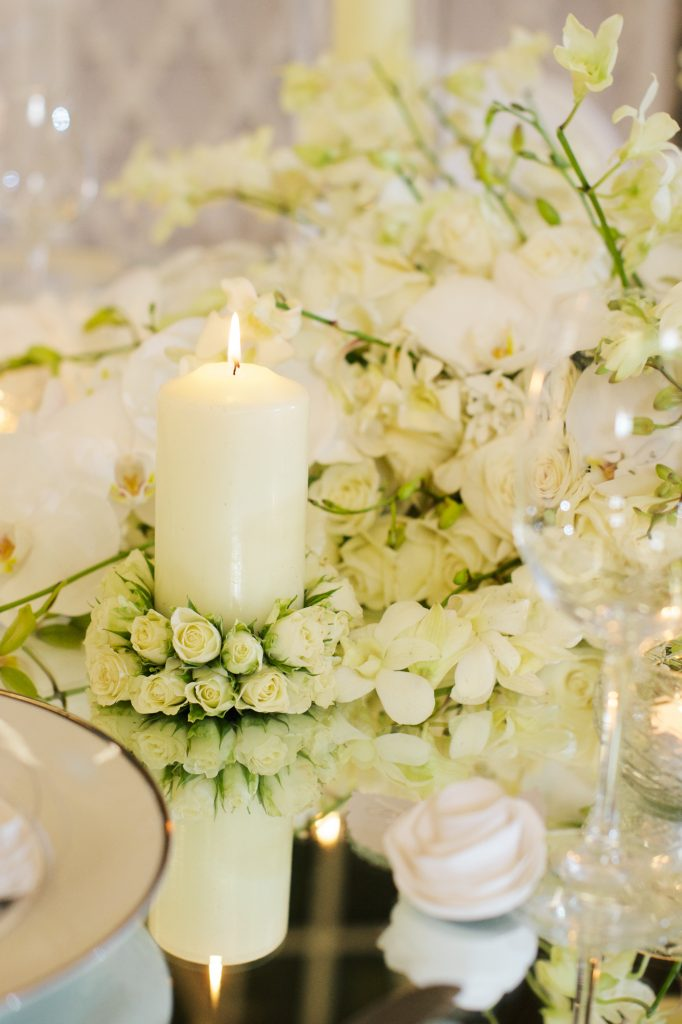 white wedding rose candle detail larry walshe flowers london florist mayfair