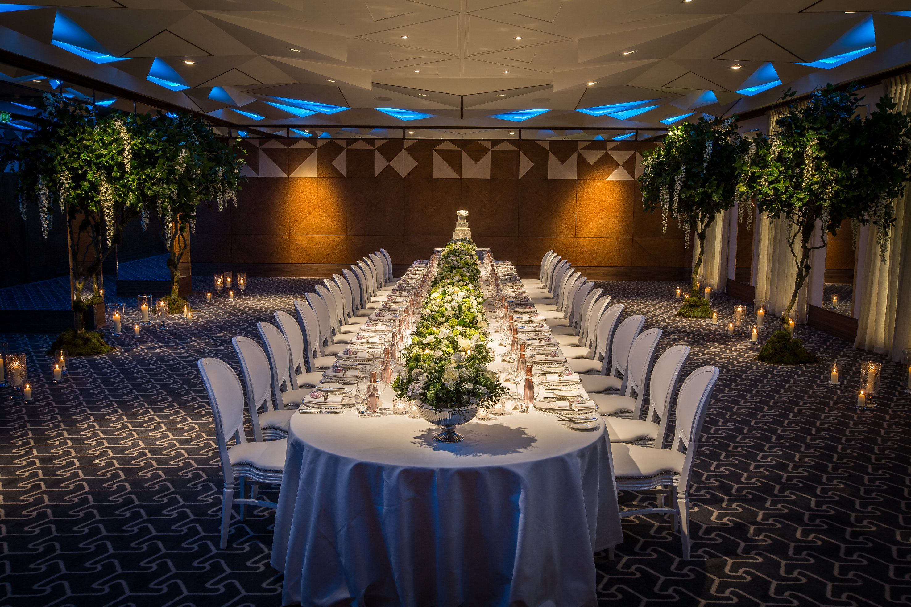 The Berkeley Hotel Ballroom Knightsbridge London Private Event Dining Bouquets Flowers Foliage Florist Candles Larry Walshe