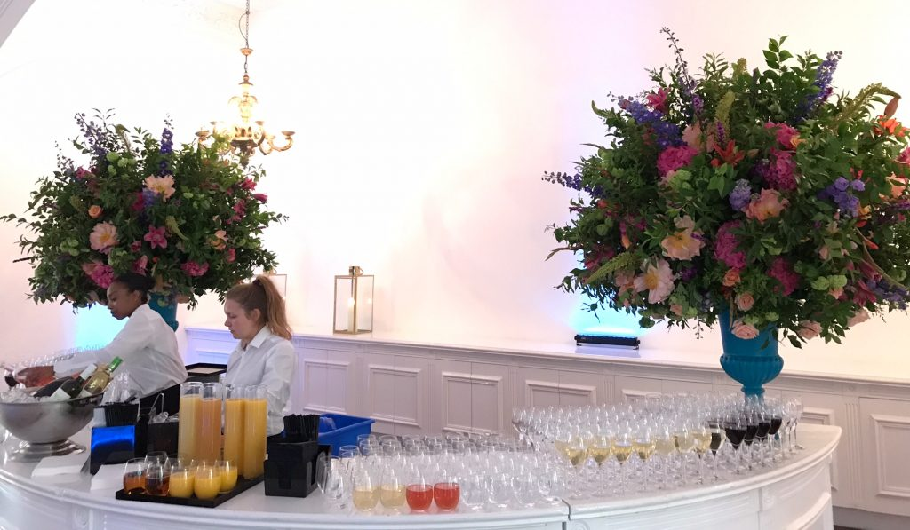 One Marylebone Events Florals Urns coral pink orange purple foliage summer london florist larry walshe