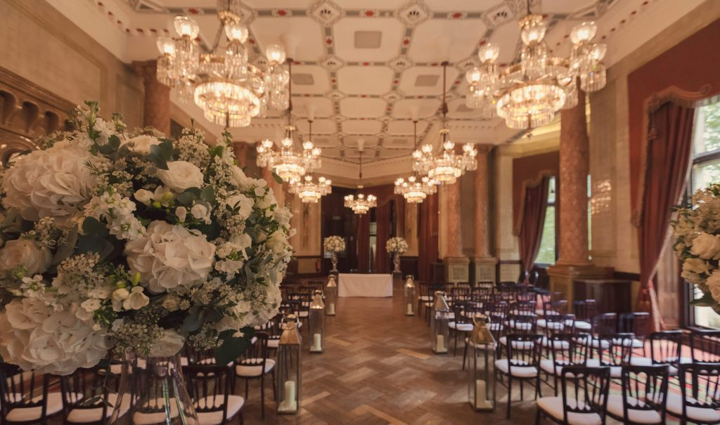 One Whitehall Place Royal Horse Guards Gladstone Library London Venue Wedding Ceremony Chandeliers Crystal Lanterns White