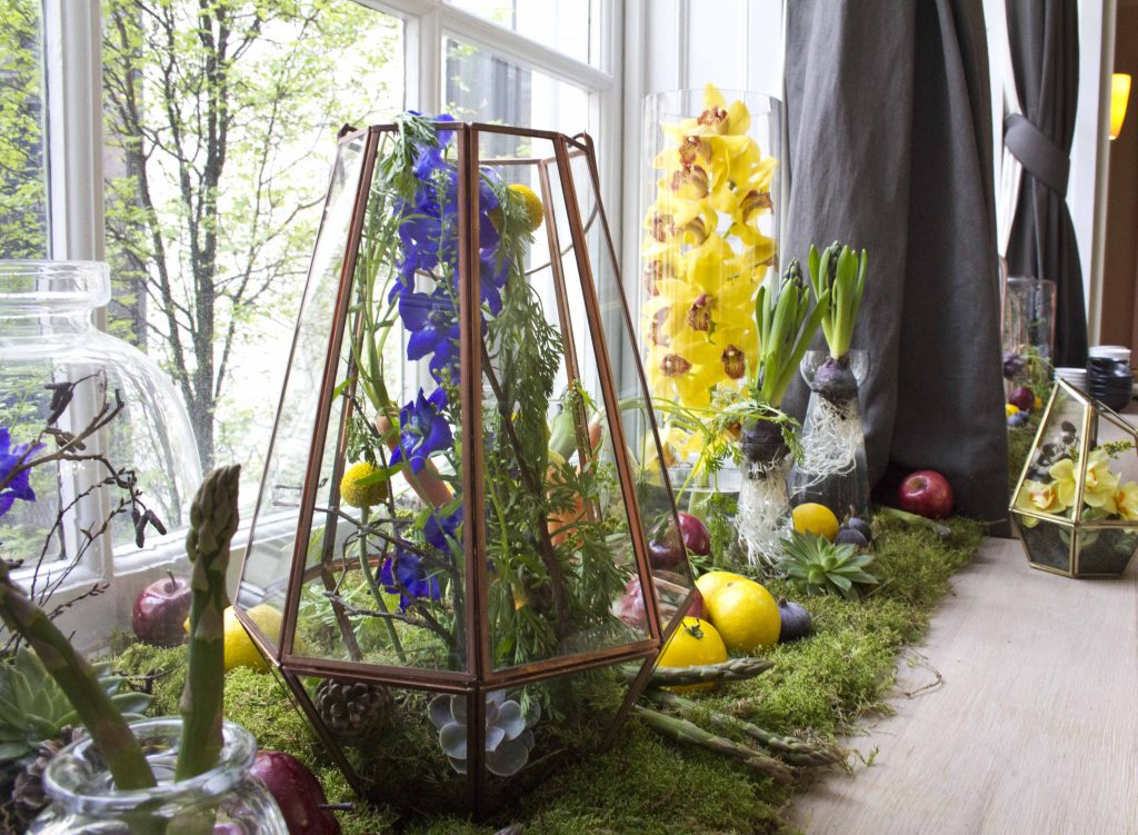 RSA Spring Flowers Terrarium Orchids Hyacinths Green Foliage Fruit London Florist Larry Walshe