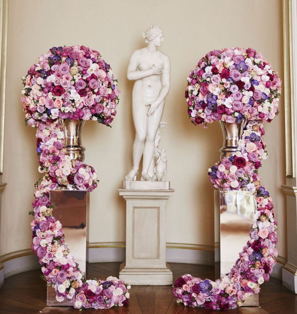 Goodwood wedding london venue roses urns statue flowers florists Larry Walshe