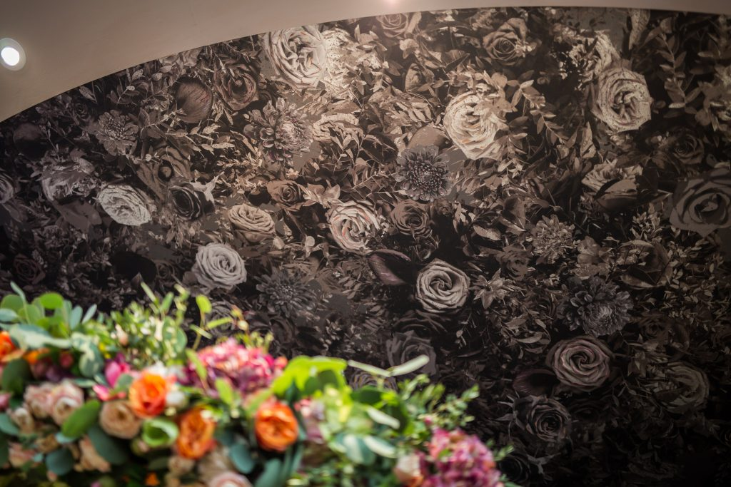 Larry Walshe Flowers Decorex International Main Entrance Chandelier Flower Foliage Wallpaper Handpainted Flowers Florist London