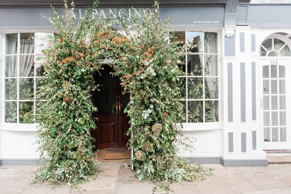 Larry Walshe Luxuary Florist London Grenwich Autumnal Florals Dahlias Entrance Arch