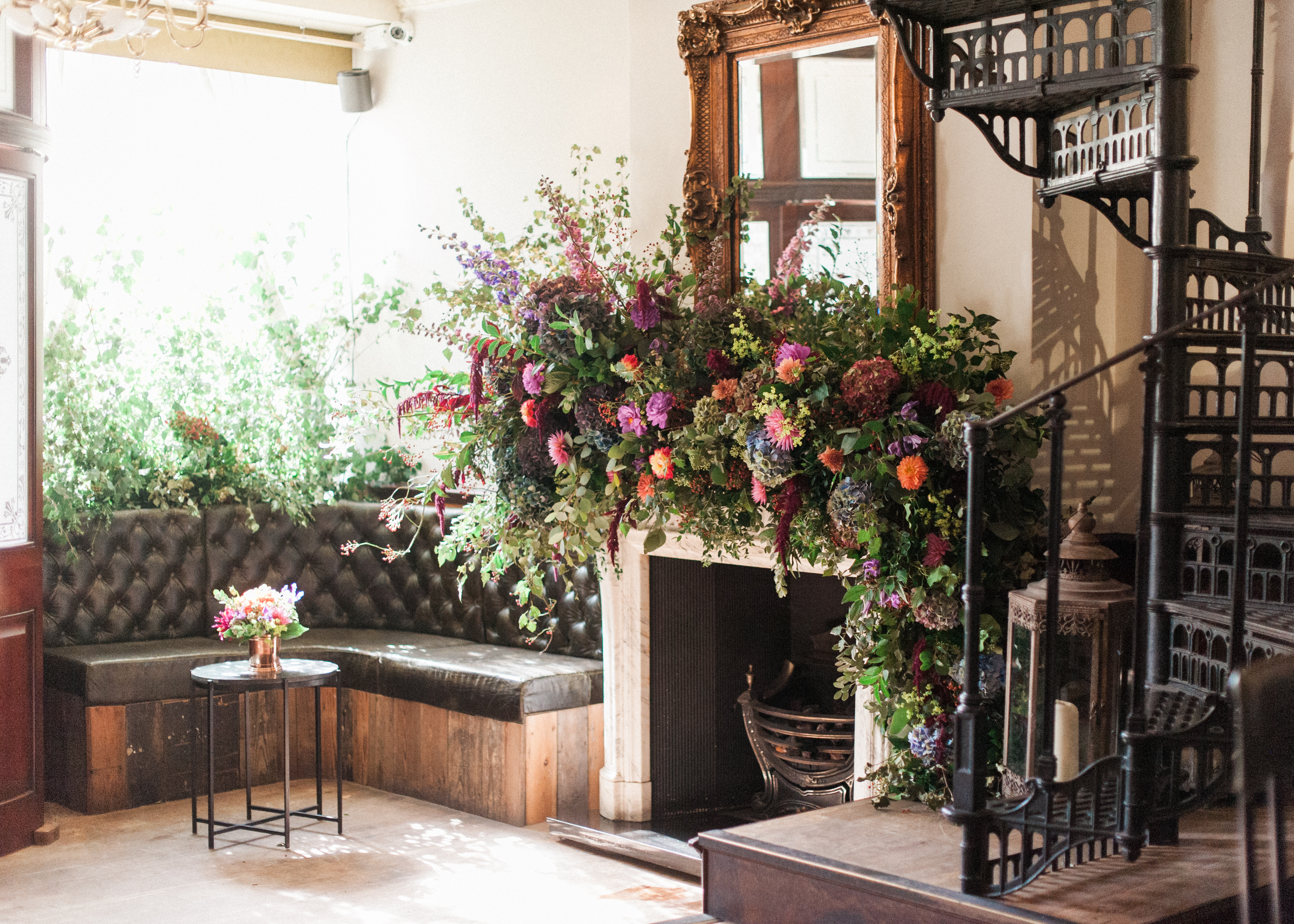 Larry Walshe Luxuary Florist London Grenwich Autumnal Florals Dahlias Fireplace Garland