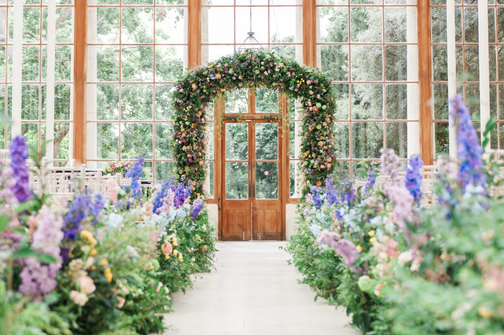 Larry Walshe Luxury Florist London Kew Gardens August Wedding Aisle Arch flowers