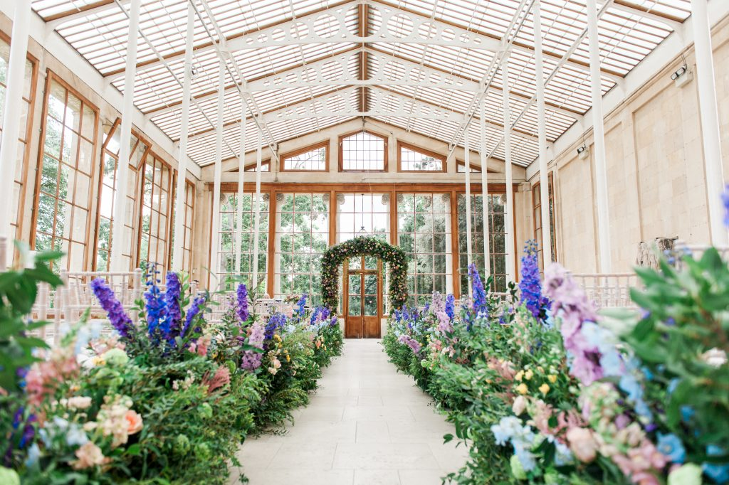 Larry Walshe Luxury Florist London Kew Gardens August Wedding Aisle Florals Arch
